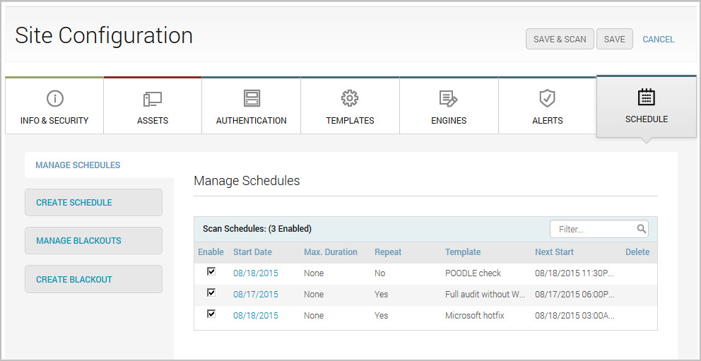 Multiple schedules configured for a site