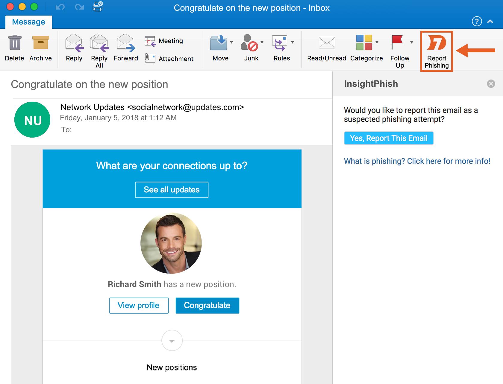 "The InsightPhishing ""Report Phishing"" button"