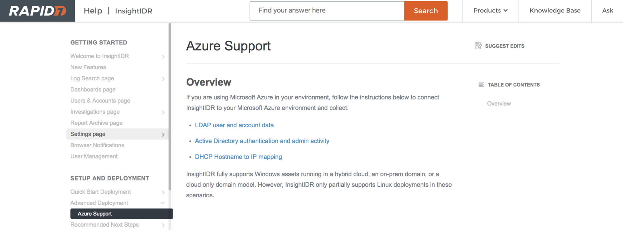 Azure Security Center and Active Directory Integrate with Rapid7