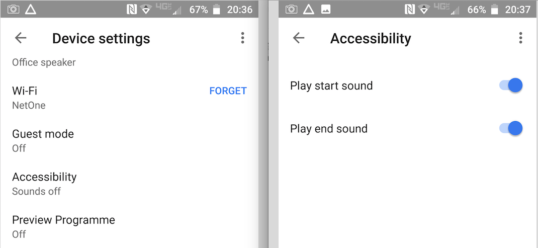 Figure 4: Google Home Accessibility