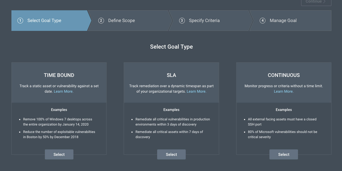 Goals and SLAs feature in Rapid7's vulnerability management solution, InsightVM.