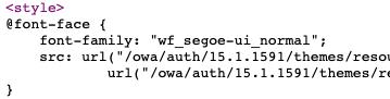Screenshot of OWA HTML source