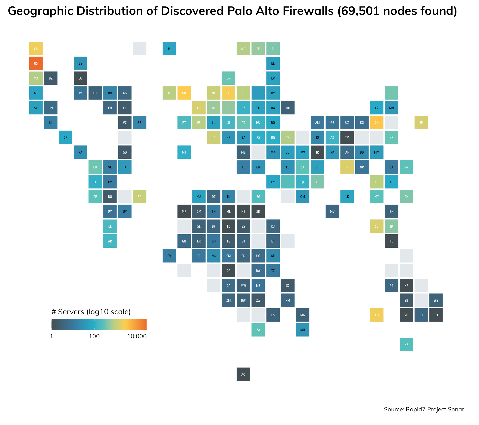 Geographic distribution of discovered Palo Alto Firewalls that could be exposed to this authentication bypass vulnerability (CVE-2020-2021)