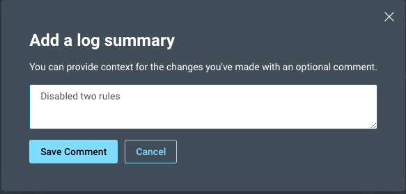 Prompt in Rapid7 InsightVM asking for context around a configuration change