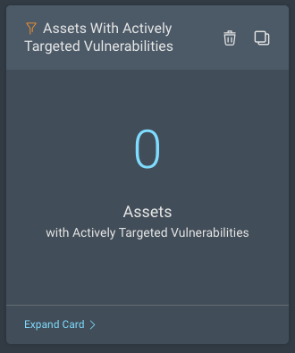 Assets with actively targeted vulnerabilities dashboard card in Rapid7 InsightVM
