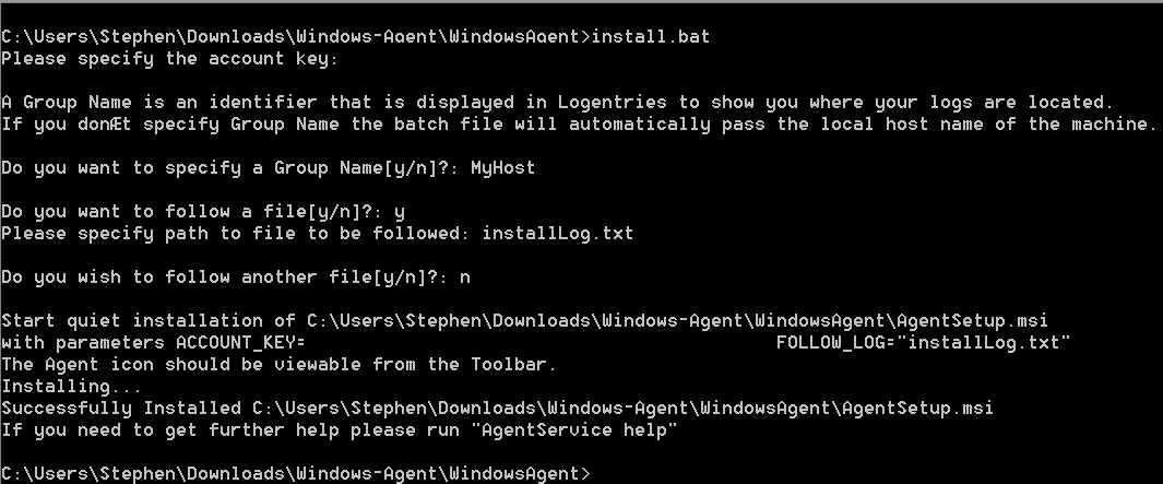 windows agent install walkthrough