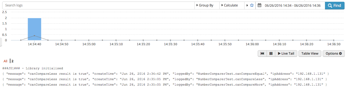 Figure 2: Data sent to Logentries in JSON format