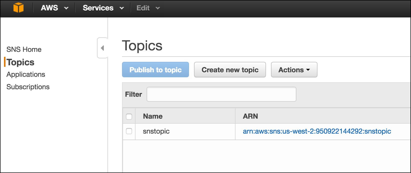 Figure 10: Once you create a Topic, it will be listed on the Topics page in SNS