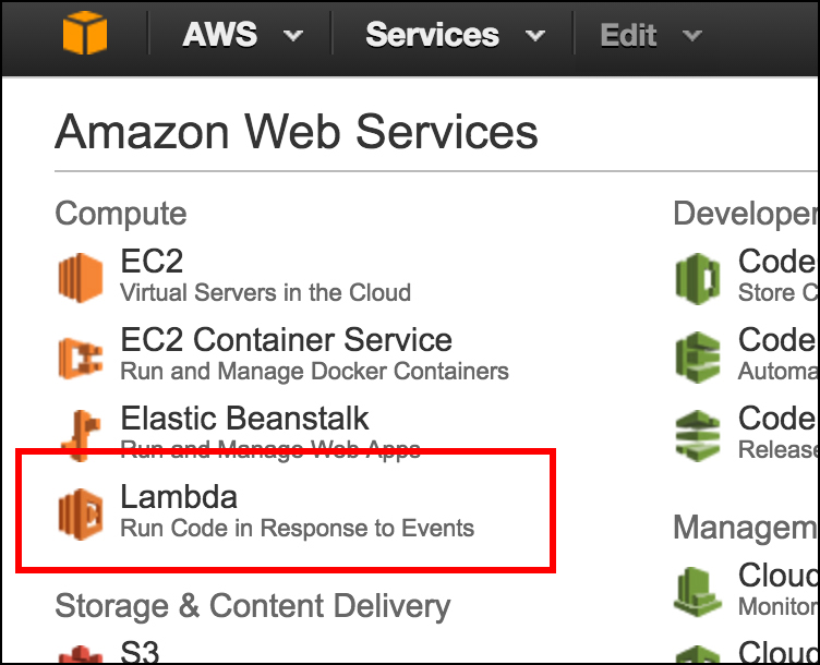 Figure 11: Lambda is a first order service in Amazon Web Services