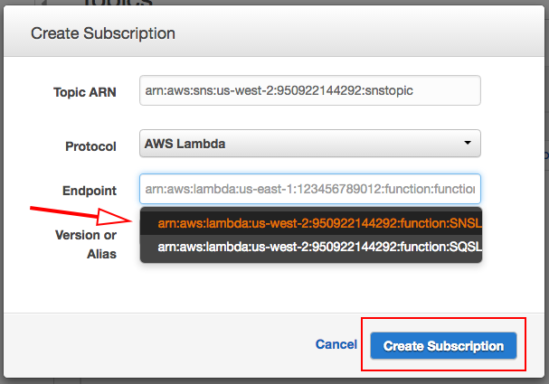 Figure 22: The Subscribe dialog automatically displays resource to which you can subscribe.