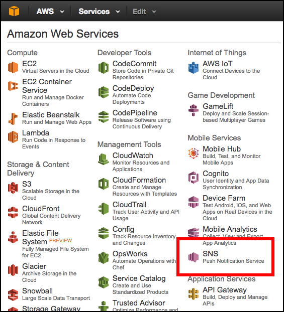 Figure 7: SNS is a service that is found on the Amazon Web Services home page.