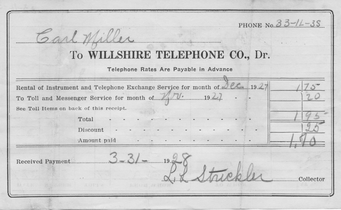 Figure 5: In the early days customers paid their telephone bill directly to a collector employed by the telephone company.