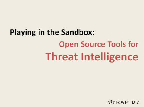 Webcast: Playing in the Sandbox - Open Source Tools for