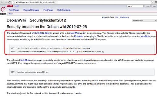 From the Wild to Metasploit: Exploit for MoinMoin Wiki (CVE