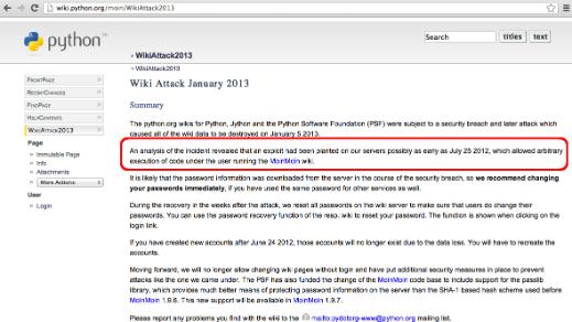 From the Wild to Metasploit: Exploit for MoinMoin Wiki (CVE