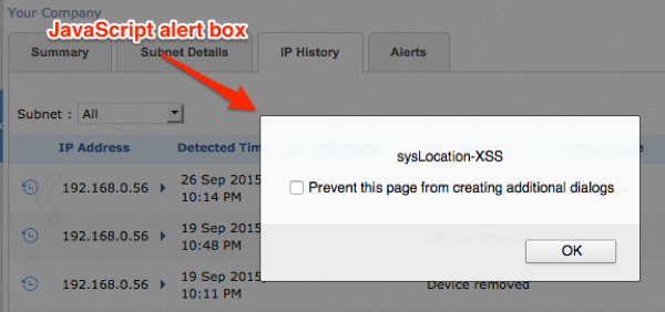Figure 3: sysLocation injected XSS