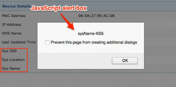 Figure 4: sysName injected XSS