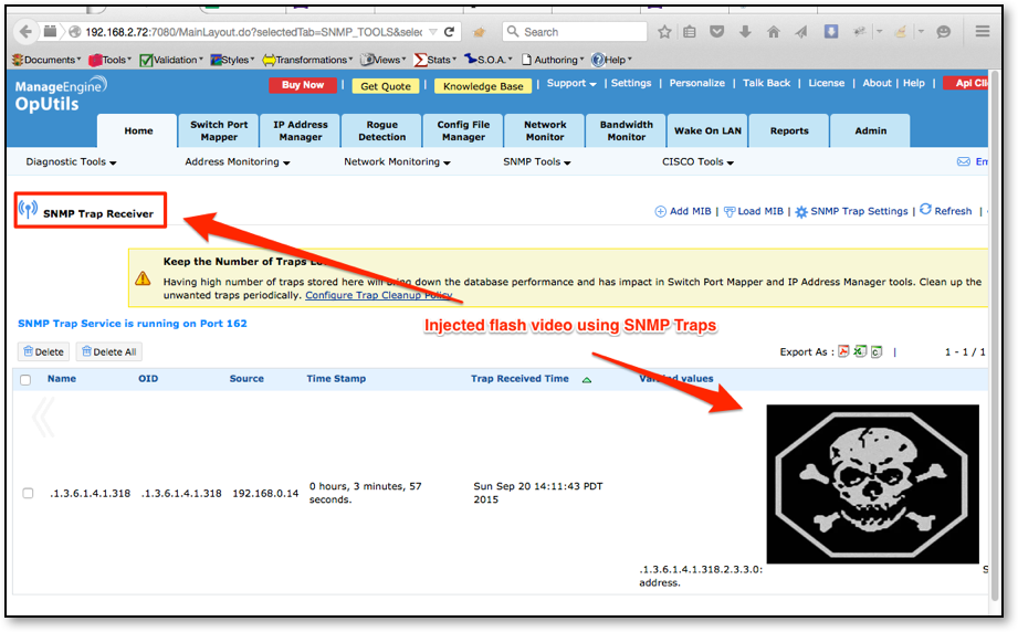 Figure 5: XSS Via SNMP Trap Injection