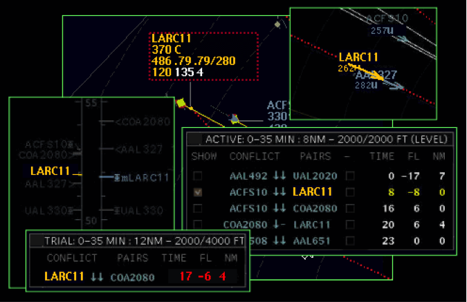 Figure 2: Grouping of information can be performed by using color within this air traffic control display   © NASA