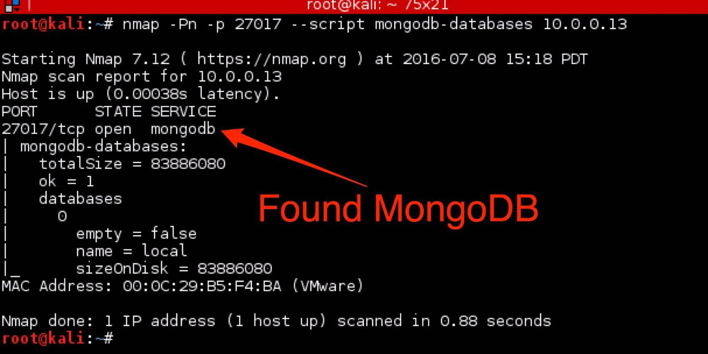 Figure 1: Nmap finding of mongodb