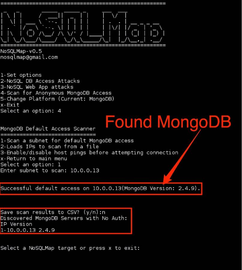 Figure 2: NoSQLMap scan for MongoDB