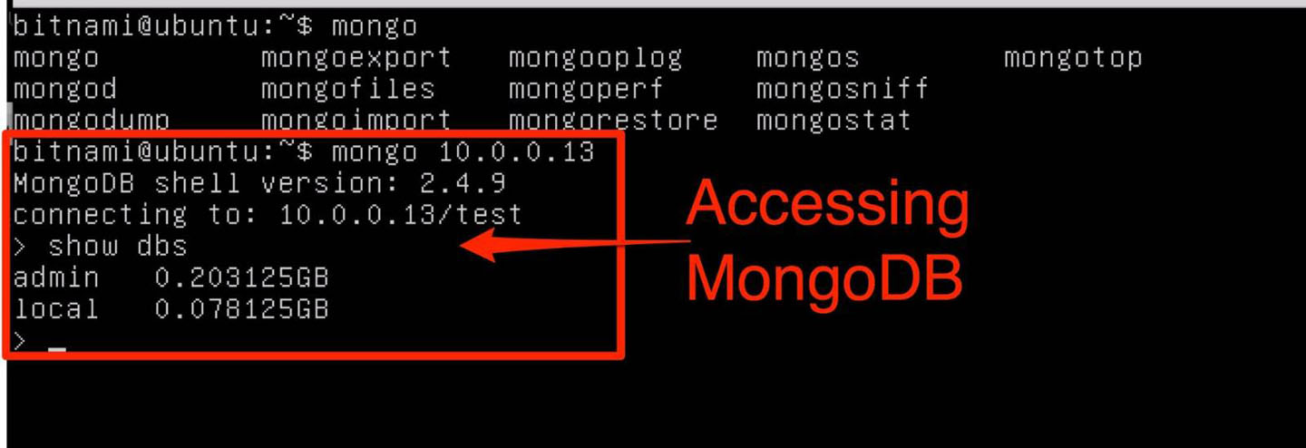 Figure 4: MongoDB client connected to MongoDB