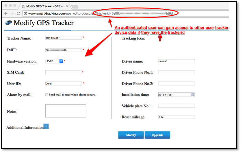 Figure 7: Access to Another Users GPS Tracker Configuration
