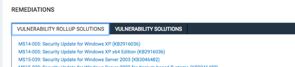 Remediations Portlet on the Vulnerabilities Details page