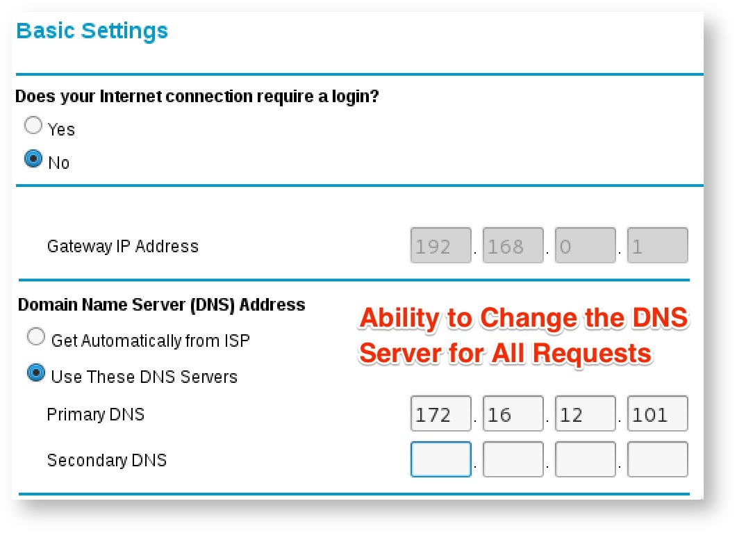 Figure 17: Changing DNS addresses