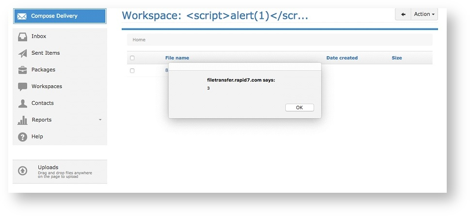 Figure 5: Navigating to the Workspace fires the File Details Description XSS