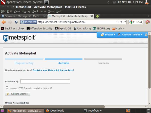 Using BackTrack 5 R2 with Metasploit Community or Metasploit Pro